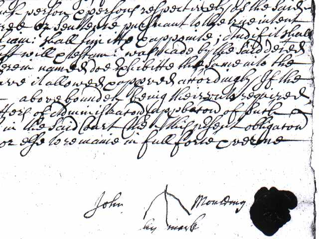 A will from 1686 shows John Moulding's mark