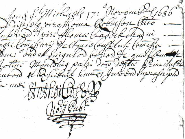 Fancy hand writing on the 17 November 1686 will