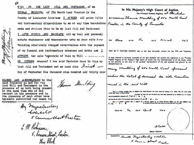 Last will of Thomas and how he left £618 3s 11d (net) to Mary in 1942
