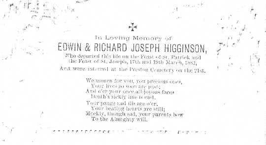 Memorial card for Edwin and Richard Joseph Higginson